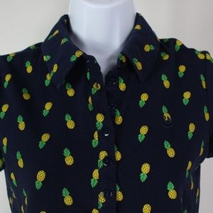 navy blue yellow pineapples short sleeve polo top